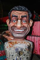 Nice, le 26 Janvier 2016 - La Maison du Carnaval : construction des tetes et des chars de Carnaval - Nicolas Sarkozy