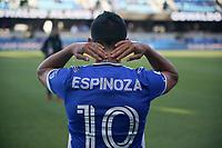SAN JOSE, CA - MAY 22: Cristian Espinoza #10 of the San Jose Earthquakes before a game between Sporting Kansas City and San Jose Earthquakes at PayPal Park on May 22, 2021 in San Jose, California.