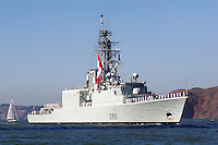 The Royal Canadian Navy HMCS Algonquin (DDG 283), an Iroquois Class Area Air Defence Destroyer, enters San Francisco Bay during 2007 San Francisco Fleet Week activities. The Algonquin was Commissioned in 1973 and it was extensively converted and refitted with sophisticated anti-air weapons systems, an improved propulsion plant, and advanced weapons and communications systems in the early 1990s. The homeport of the Alquonquin is Esquimalt, British Columbia. Photographed 10/07