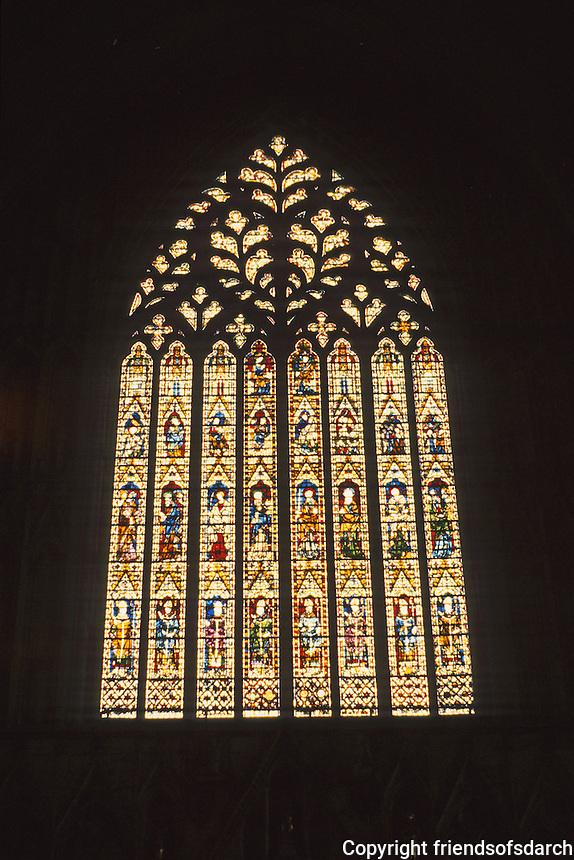 York: York Minster--West window--stained glass. Photo '90.