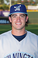 Brandon Finnegan (19) of the Wilmington Blue Rocks poses for a photo following the game against the Winston-Salem Dash at BB&T Ballpark on July 6, 2014 in Winston-Salem, North Carolina.  Finnegan was the 17th overall selection in the first round of the 2014 First Year Player Draft by the Kansas City Royals.   (Brian Westerholt/Four Seam Images)