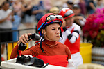 JULY 24, 2021: Drayden Van Dyke talks on the phone with the stewards after an inquiry in a race at the Del Mar Fairgrounds in Del Mar, California on July 24, 2021. Evers/Eclipse Sportswire/CSM