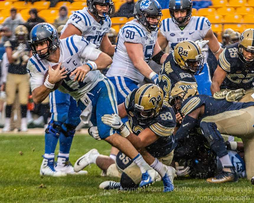 Duke quarterback Daniel Jones. The Pitt Panthers football team defeated the Duke Blue Devils 54-45 on November 10, 2018 at Heinz Field, Pittsburgh, Pennsylvania.