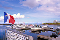 Shippagan, NB, New Brunswick, Canada - Commercial Fishing Boats docked in Harbour, Acadian Flag flying