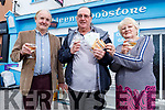 Pat Kelliher from Abbeyfelae strikes it lucky at Kathleen's Foodstore in Abbeyfeale as he won €60,000 in the Telly Bingo gameshow, pictured standing with Kathleen and Neilus Collins.