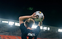 HOUSTON, TX - JUNE 13: Emily Sonnett #14 of the USWNT throws in the ball during a game between Jamaica and USWNT at BBVA Stadium on June 13, 2021 in Houston, Texas.