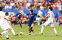 FRISCO, TX - MARCH 11: Christen Press #23 of the United States battles for the ball with Saki Kumagai #4 of Japan during a game between Japan and USWNT at Toyota Stadium on March 11, 2020 in Frisco, Texas.
