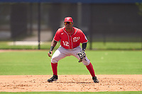 Washington Nationals third baseman Omar Meregildo (12) during a Minor League Spring Training game against the Houston Astros on April 27, 2021 at FITTEAM Ballpark of the Palm Beaches in Palm Beach, Fla.  (Mike Janes/Four Seam Images)