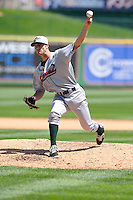 Michael Johnson #11 of the Great Lakes Loons pitches in relief against the Peoria Chiefs at Dozer Park on July 28, 2014 in Peoria, Illinois. The Loons won 4-0.   (Dennis Hubbard/Four Seam Images)