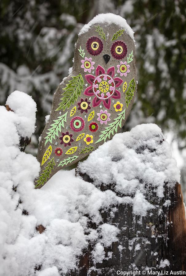 Vashon-Maury Island, WA: Mosaic owl perched on cedar trunk in the snow (mosaic tile artist Clare Dohna)