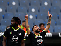 Football, Serie A: S.S. Lazio - Spezia, Olympic stadium, Rome, April 3, 2021. <br /> Spezia's Daniele Verde (r) celebrates after scoring with his teammates  during the Italian Serie A football match between S.S. Lazio and Spezia at Rome's Olympic stadium, Rome, on April 3, 2021.  <br /> UPDATE IMAGES PRESS/Isabella Bonotto