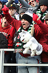 A Washington State fan shows his loyalties prior to the kickoff of the Apple Cup rivalry game between Washington State University and the University of Washington at Martin Stadium in Pullman, Washington, on December 4, 2010.  The game was close throughout, but the Huskies prevailed over the Cougars after scoring a late touchdown to win the game, 35-28.
