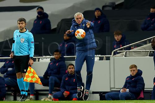 26th November 2020; Tottenham Hotspur Stadium, London, England; UEFA Europa League Football, Tottenham Hotspur versus Ludogorets; Tottenham Hotspur Manager Jose Mourinho catches the ball