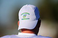 Sept. 16, 2009; Casa Grande, AZ, USA; Detailed view of a California Redwoods hat on a player during training camp at the Casa Grande Training Facility & Performance Institute. Mandatory Credit: Mark J. Rebilas-