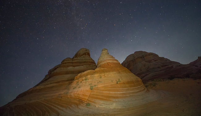The stars appear over White Pocket at Vermilion Cliffs National Monument, Arizona