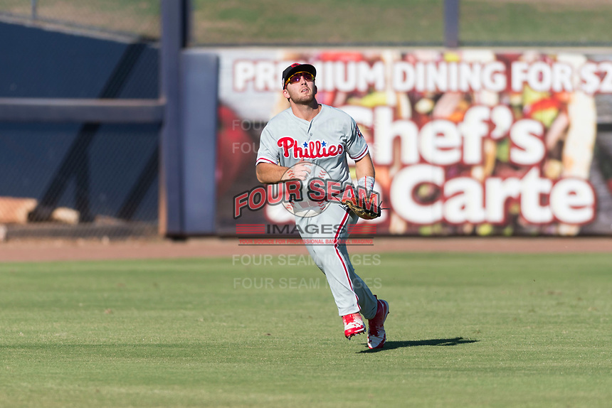 Scottsdale Scorpions left fielder Austin Listi (23), of the Philadelphia Phillies organization, pursues a fly ball during an Arizona Fall League game against the Peoria Javelinas at Peoria Sports Complex on October 18, 2018 in Peoria, Arizona. Scottsdale defeated Peoria 8-0. (Zachary Lucy/Four Seam Images)