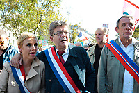 September 23 2017, Paris, France - Demonstration against the Reform of Labour Law led by the French politician Jean-Luc Melenchon Leader of 'La France Insoumise' with Clementine Autain by her side. # MANIFESTATION CONTRE LA LOI TRAVAIL EN FRANCE