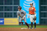 Hunter Stovall (13) rounds second base against the Sam Houston State Bearkats during game eight of the 2018 Shriners Hospitals for Children College Classic at Minute Maid Park on March 3, 2018 in Houston, Texas. The Bulldogs defeated the Bearkats 4-1.  (Brian Westerholt/Four Seam Images)