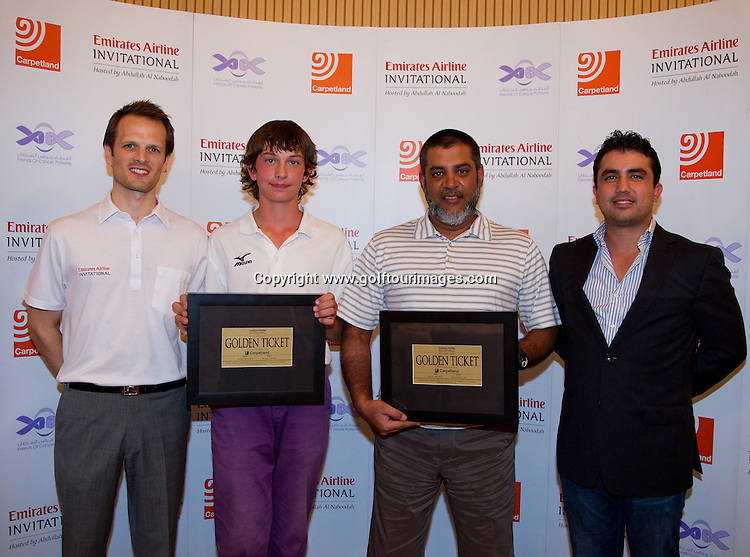 Winners of the Carpetland Golden ticket were Jakub Hrinda in the Junior section and Burham Mohammed  - they were presented their prizes by  Carpetland's Shahriar Khodjasteh and Emirates Airline Invitational Tournament Director, James Bowring. The Emirates Airline Invitational , Hosted by Abdullah Al Naboodah will be held over Yas Links, Yas Island, Abu Dhabi on 30th January 2012: Picture, Stuart Adams, www.golftourimages.com