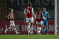Manuela Zinsberger of Arsenal celebrates saving Ellen White's penalty during Arsenal Women vs Manchester City Women, FA Women's Continental League Cup Football at Meadow Park on 29th January 2020