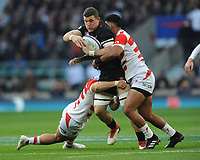 Mark Wilson of England is tackled by Ryoto Nakamura and Timothy Lafaele of Japan during the Quilter International match between England and Japan at Twickenham Stadium on Saturday 17th November 2018 (Photo by Rob Munro/Stewart Communications)