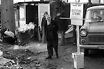 """""""Winter of Discontent"""" London. General and Municipal Workers Union Official Strike. Picket line at refuse dump, Wandsworth south London. 1978, driver turned away."""