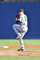 Augusta GreenJackets starting pitcher Jake Wong (22) delivers a pitch during a game against the Asheville Tourists at McCormick Field on April 6, 2019 in Asheville, North Carolina. The Tourists defeated the GreenJackets 6-3. (Tony Farlow/Four Seam Images)