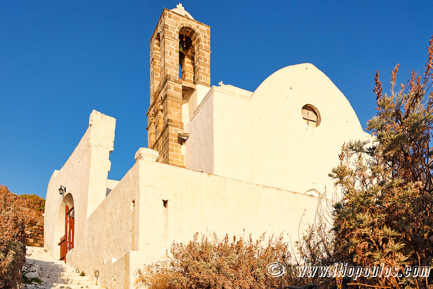 The church of Panagia Thalassitra above the village of Plaka in Milos, Greece