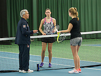 Rotterdam, The Netherlands, March 11, 2016,  TV Victoria, , NOJK 12/16 years, Umpire Frank de Bruin does the toss with Birgit Heijnemans and Noesjka Brink (R)<br /> Photo: Tennisimages/Henk Koster