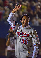 1 April 2016: Former Boston Red Sox and Montreal Expos pitcher and Member of the Baseball Hall of Fame, Pedro Martinez waves to the crowd during pre-game ceremonies prior to an exhibition game between the Sox and the Toronto Blue Jays at Olympic Stadium in Montreal, Quebec, Canada. The Red Sox defeated the Blue Jays 4-2 in the first of two MLB weekend exhibition games, which saw an attendance of 52,682 at the former home on the Montreal Expos. Mandatory Credit: Ed Wolfstein Photo *** RAW (NEF) Image File Available ***