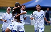 VILLAVICENCIO - COLOMBIA, 17-07-2021: Llaneros F. C vs Millonarios F. C. durante partido de la Fase de Grupos de la fecha 2 por la Liga Femenina BetPlay DIMAYOR 2021 jugado en el estadio Parque de la Vida COFREM de la ciudad de Villavicencio. / Llaneros F. C vs Millonarios F. C. during a match of the Group Phase the 2nd date for the Women's League BetPlay DIMAYOR 2021 played at the Parque de la Vida COFREM stadium in Villavicencio city. / Photo: VizzorImage / Daniel Garzon / Cont.