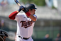 Minnesota Twins Aaron Sabato (96) on deck during a Major League Spring Training game against the Pittsburgh Pirates on March 16, 2021 at the Hammond Stadium in Fort Myers, Florida.  (Mike Janes/Four Seam Images)