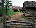 Great Smoky Mts. National Park, TN/NC<br /> Pathway leads past the corn crib to the cantilever barn on the Timpton Place  in Cades Cove