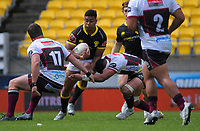 Julian Savea is tackled during the Mitre 10 Cup rugby match between Wellington Lions and North Harbour at Sky Stadium in Wellington, New Zealand on Saturday, 17 October 2020. Photo: Dave Lintott / lintottphoto.co.nz