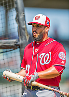 15 March 2016: Washington Nationals catcher Jhonatan Solano awaits his turn in the batting cage prior to a Spring Training pre-season game against the Houston Astros at Osceola County Stadium in Kissimmee, Florida. The Nationals defeated the Astros 6-4 in Grapefruit League play. Mandatory Credit: Ed Wolfstein Photo *** RAW (NEF) Image File Available ***