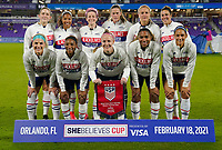 ORLANDO CITY, FL - FEBRUARY 18: USA starting eleven during a game between Canada and USWNT at Exploria Stadium on February 18, 2021 in Orlando City, Florida.