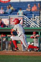 Auburn Doubledays Ricardo Mendez (3) bats during a NY-Penn League game against the Batavia Muckdogs on June 18, 2019 at Dwyer Stadium in Batavia, New York.  Batavia defeated Auburn 7-5.  (Mike Janes/Four Seam Images)