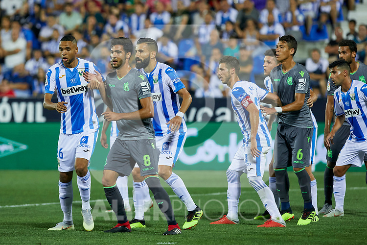 Leganes' Youssef En-Nesyri (l) and Dimitrios Siovas (r) and Real Sociedad's Mikel Merino during La Liga match. August 24, 2018. (ALTERPHOTOS/A. Perez Meca)