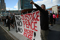NEW YORK, NEW YORK - MAY 31: People take part during a protest outside the Barclays Center in Brooklyn on May 31, 2020 in New York. Protests spread across the country in at least 30 cities in the United States. USA For the death of unarmed black man George Floyd at the hands of a police officer, this is the latest death in a series of police deaths of black Americans (Photo by Pablo Monsalve / VIEWpress via Getty Images)