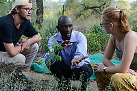 SAMBIA, Distrikt Sinazongwe, Freiwilligendienst bei KDF in Sinazese, Simon Katzmair und Frieda Marie Schmitz in der Baumschule mit KDF Mitarbeiter T. Luzutu