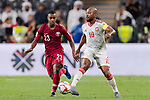 Ismaeil Matar Aljneibi of United Arab Emirates (R) fights for the ball with Assim Madibo of Qatar (L) during the AFC Asian Cup UAE 2019 Semi Finals match between Qatar (QAT) and United Arab Emirates (UAE) at Mohammed Bin Zaied Stadium  on 29 January 2019 in Abu Dhabi, United Arab Emirates. Photo by Marcio Rodrigo Machado / Power Sport Images