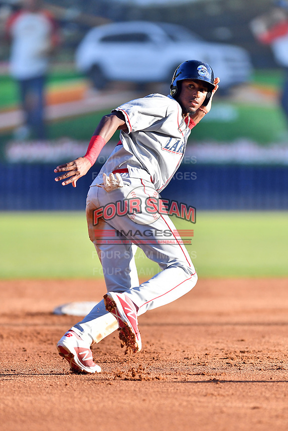 Lakewood BlueClaws Carlos De La Cruz (27) heads back to second base during a game against the Asheville Tourists at McCormick Field on June 13, 2019 in Asheville, North Carolina. The BlueClaws defeated the Tourists 4-3. (Tony Farlow/Four Seam Images)