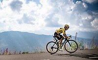 yellow jersey / GC leader Primoz Roglic (SVK/Jumbo-Visma) up the finish climb & the highest peak of the 2020 #TdF: the Col de la Loze (HC/2304m/21,5km @7,8%)<br /> <br /> Stage 17 from Grenoble to Méribel - Col de la Loze (170km)<br /> <br /> 107th Tour de France 2020 (2.UWT)<br /> (the 'postponed edition' held in september)<br /> <br /> ©kramon