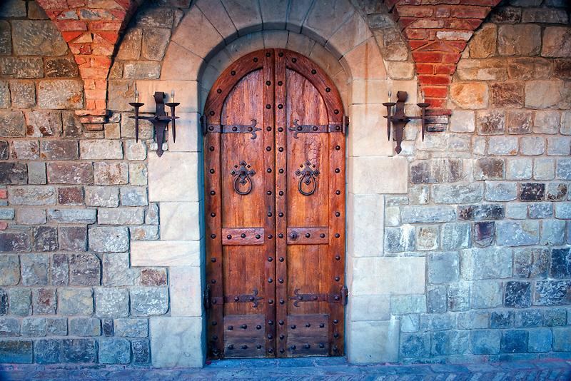 Castle door at Castello di Amorosa. Napa Valley, California. Property relased.