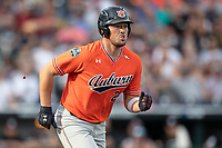 Auburn Tigers designated hitter Connor Davis (24) runs to first base during Game 4 of the NCAA College World Series against the Mississippi State Bulldogs on June 16, 2019 at TD Ameritrade Park in Omaha, Nebraska. Mississippi State defeated Auburn 5-4. (Andrew Woolley/Four Seam Images)