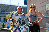 Oct 26, 2018; Las Vegas, NV, USA; NHRA funny car driver John Force (left) with daughter Courtney Force during qualifying for the Toyota Nationals at The Strip at Las Vegas Motor Speedway. Mandatory Credit: Mark J. Rebilas-USA TODAY Sports