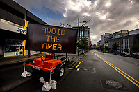 Rush hour, Victoria St. The city centre during quarantine lockdown for COVID19 pandemic.  Wellington, New Zealand on Friday, 27 March 2020. Photo: Dave Lintott / lintottphoto.co.nz