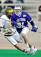 10 April 2007: Holy Cross Crusaders' Tim Barrar, a Freshman from West Chester, PA, in action against the University of Vermont Catamounts at Moulton Winder Field, in Burlington, Vermont. The Crusaders rallied to defeat the Catamounts 5-4...Mandatory Photo Credit: Ed Wolfstein Photo