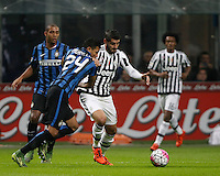 Calcio, Serie A: Inter vs Juventus. Milano, stadio San Siro, 18 ottobre 2015. <br /> Juventus' Alvaro Morata, right, is challenged by FC Inter's Jeison Murillo during the Italian Serie A football match between FC Inter and Juventus, at Milan's San Siro stadium, 18 October 2015.<br /> UPDATE IMAGES PRESS/Isabella Bonotto