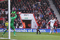 Alberto Palosch of Swansea City sees his shot saved by Artur Boruc of Bournemouth during the Barclays Premier League match between AFC Bournemouth and Swansea City played at The Vitality Stadium, Bournemouth on March 12th 2016